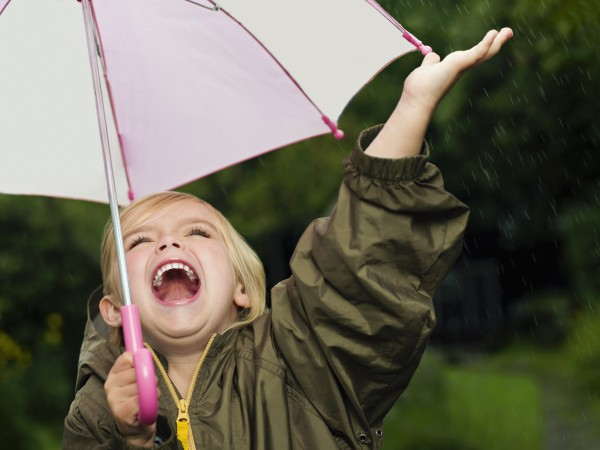 Girl singling holding an umbrella